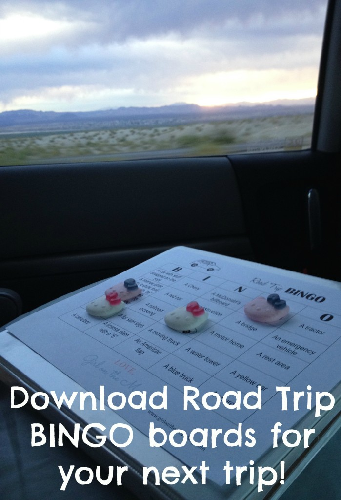 Download Road Trip Bingo boards for your next family road trip