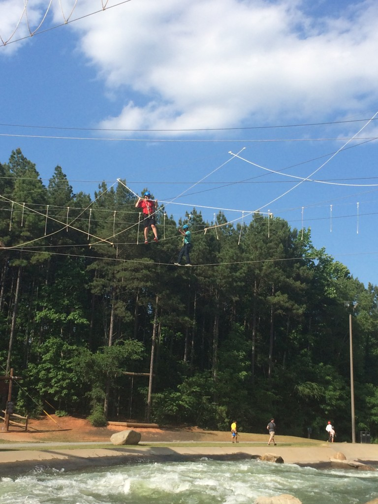 Challenging ropes course high above the white water course at US National Whitewater Center